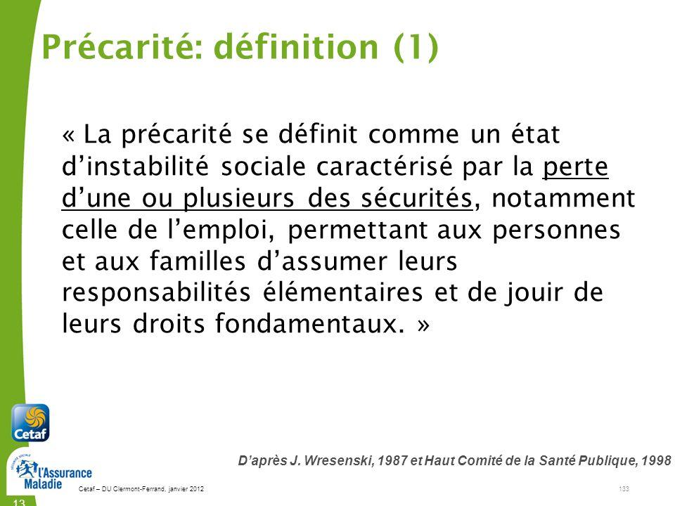 Précarité: définition (1)