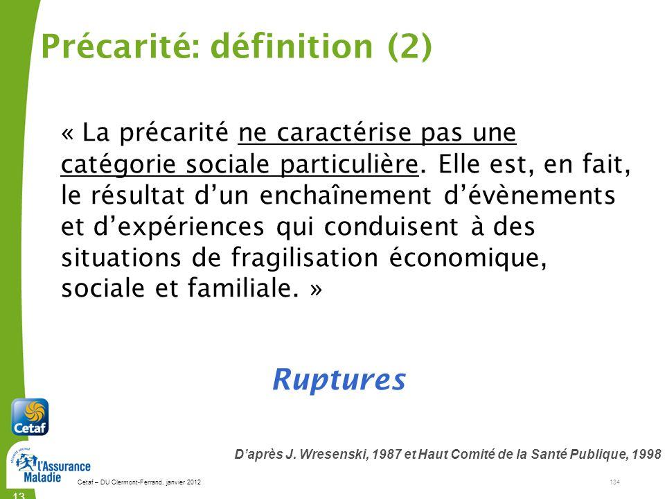 Précarité: définition (2)