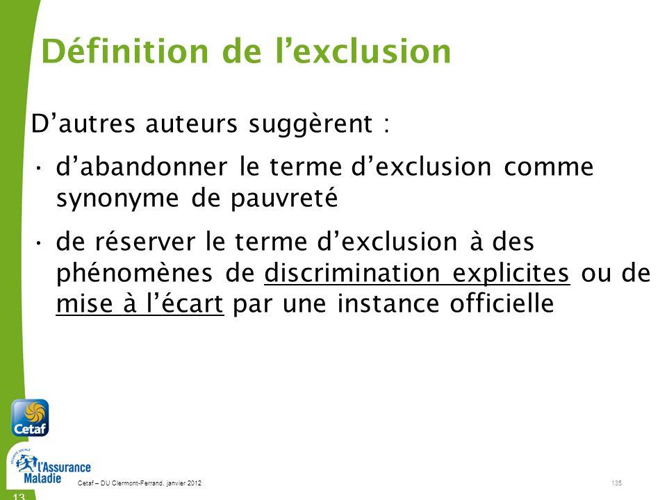 Définition de l'exclusion