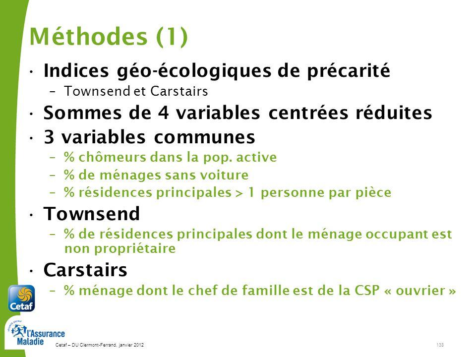 Méthodes (1) Indices géo-écologiques de précarité