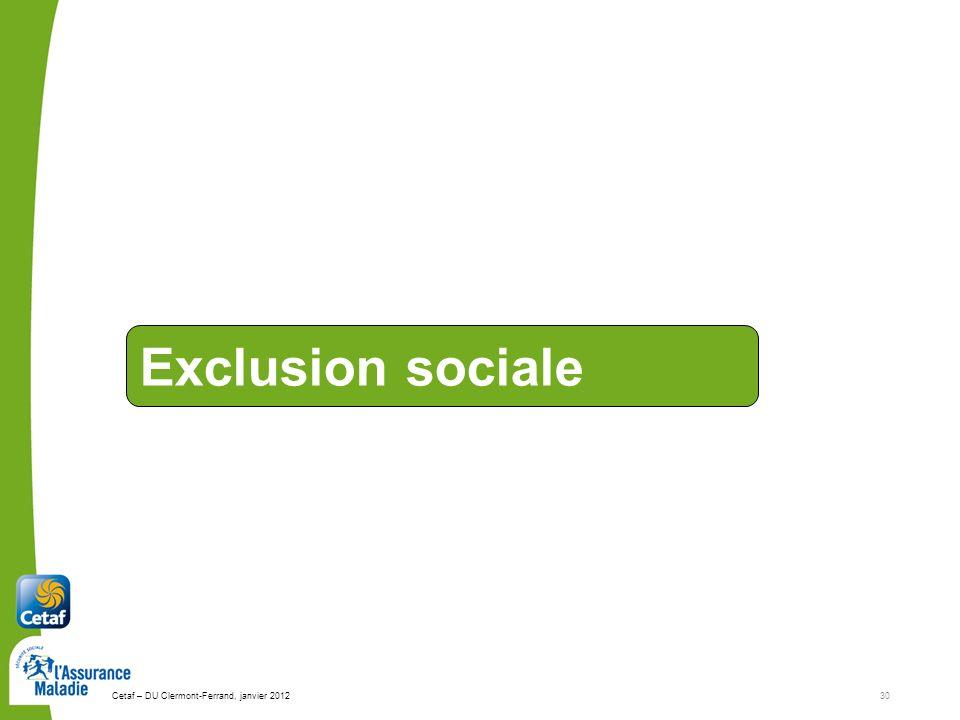 Exclusion sociale Cetaf – DU Clermont-Ferrand, janvier 2012 30