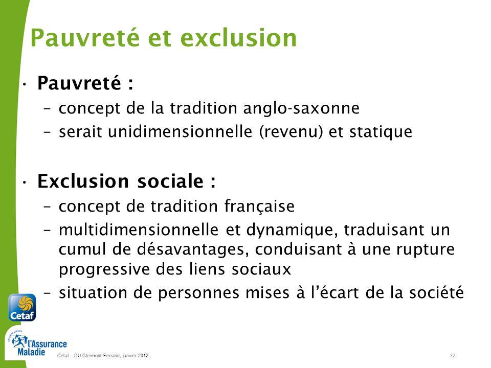 Pauvreté et exclusion Pauvreté : Exclusion sociale :