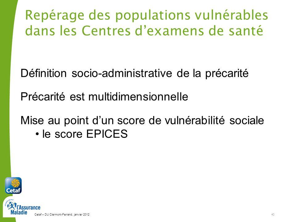Repérage des populations vulnérables dans les Centres d'examens de santé