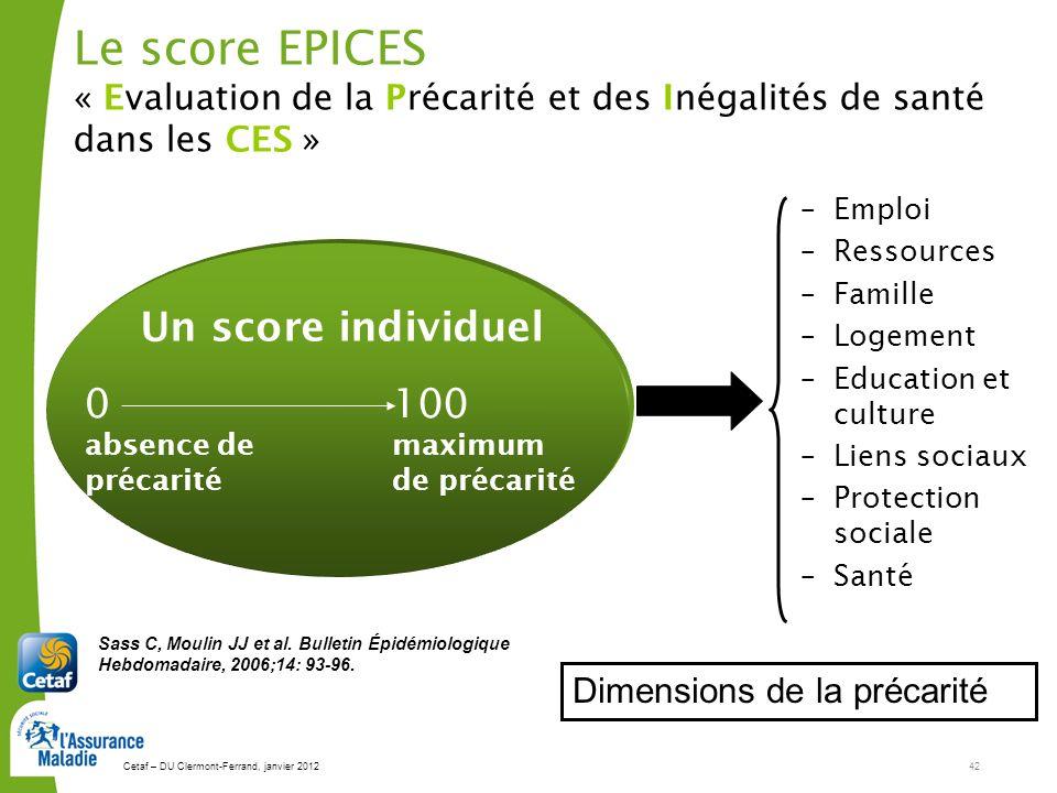 Le score EPICES « Evaluation de la Précarité et des Inégalités de santé dans les CES »
