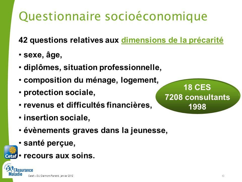Questionnaire socioéconomique