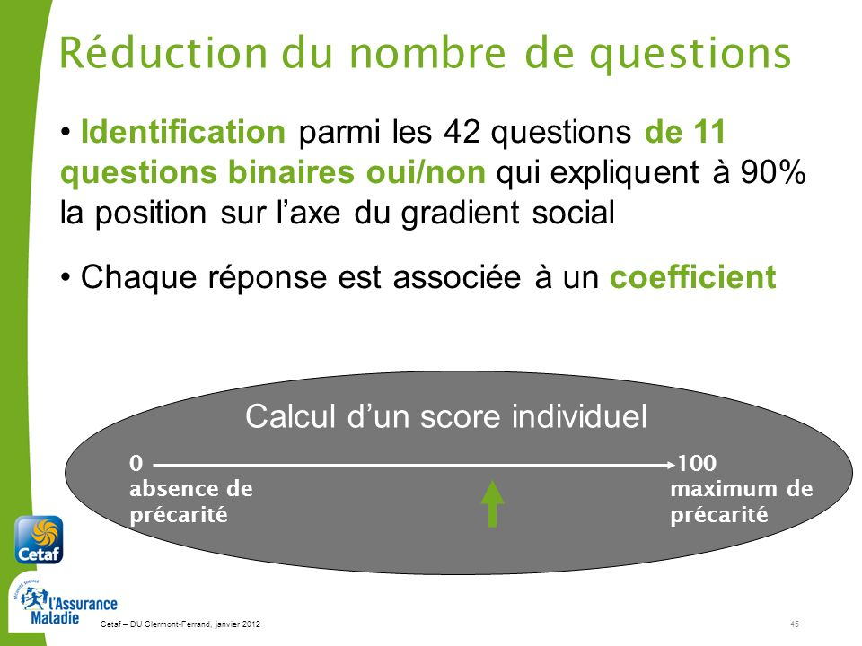Réduction du nombre de questions