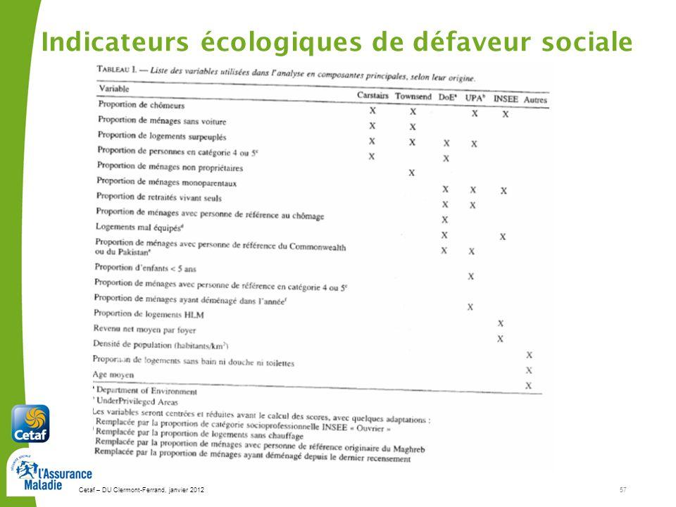 Indicateurs écologiques de défaveur sociale