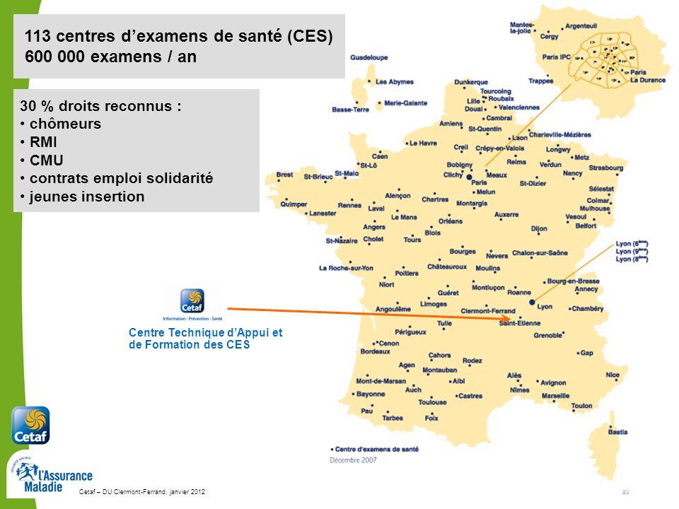 600 000 examens / an 113 centres d'examens de santé (CES)