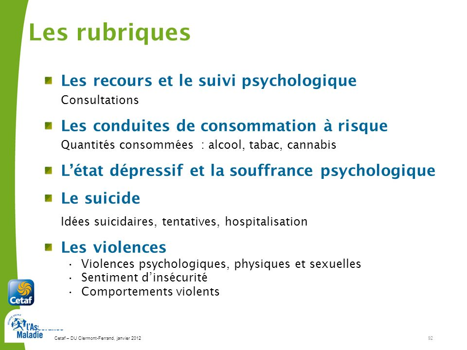Les rubriques Les recours et le suivi psychologique