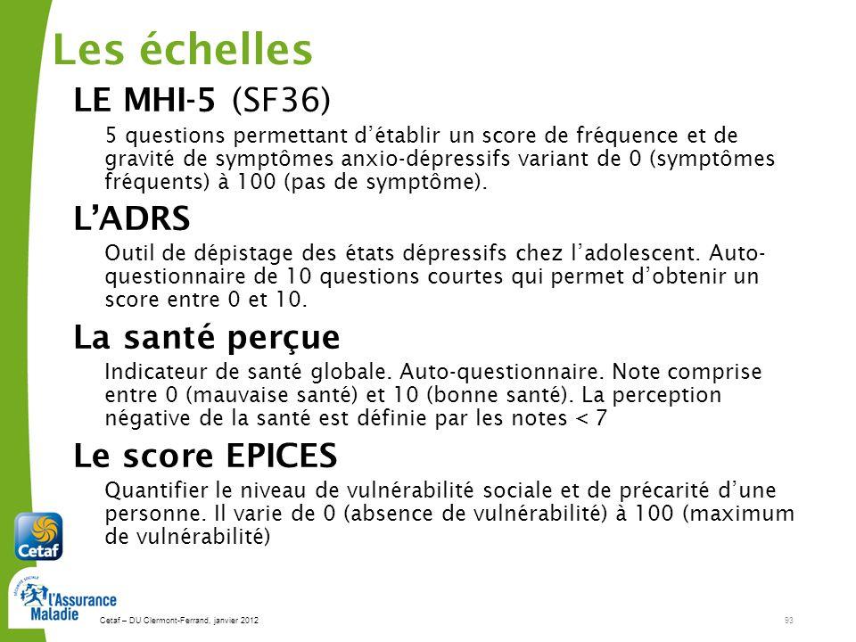 Les échelles LE MHI-5 (SF36) L'ADRS La santé perçue Le score EPICES