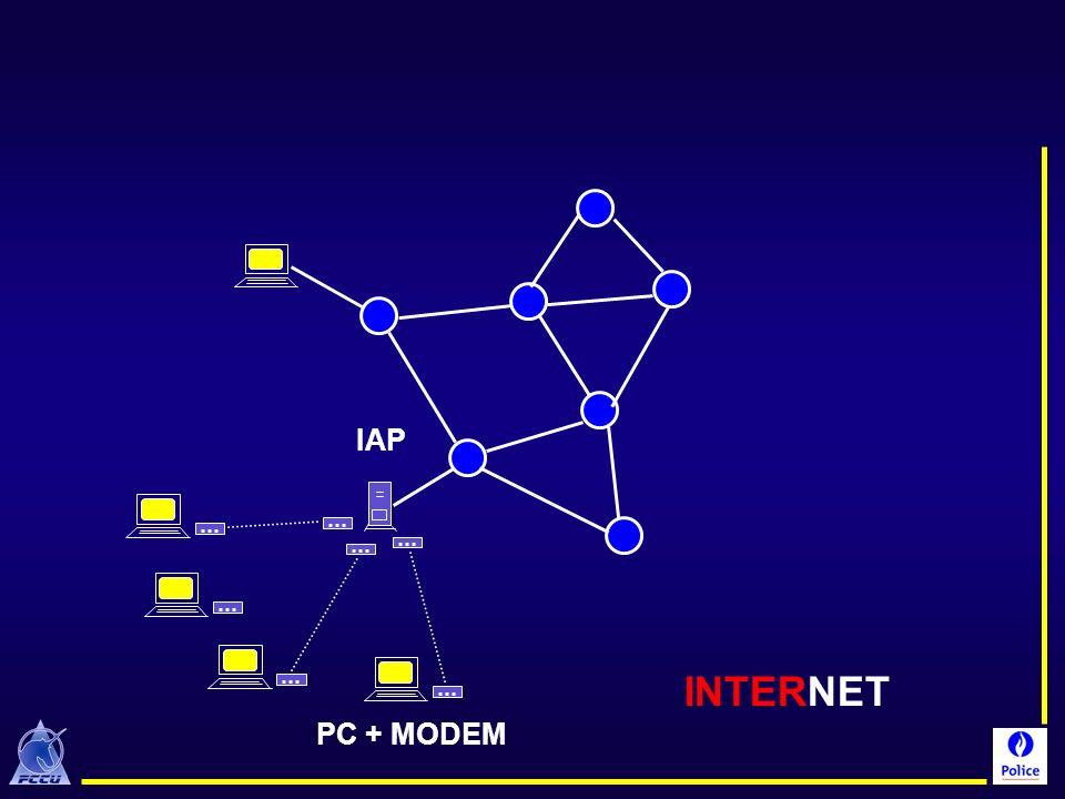 IAP De nombreux internautes connectent leur PC à Internet par l'intermédiaire d'un modem, d'une ligne téléphonique et d'un point d'accès = ISP.