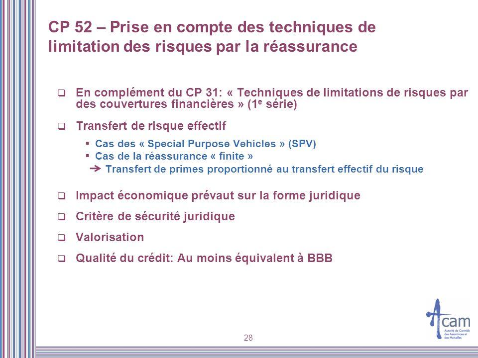 CP 52 – Prise en compte des techniques de limitation des risques par la réassurance