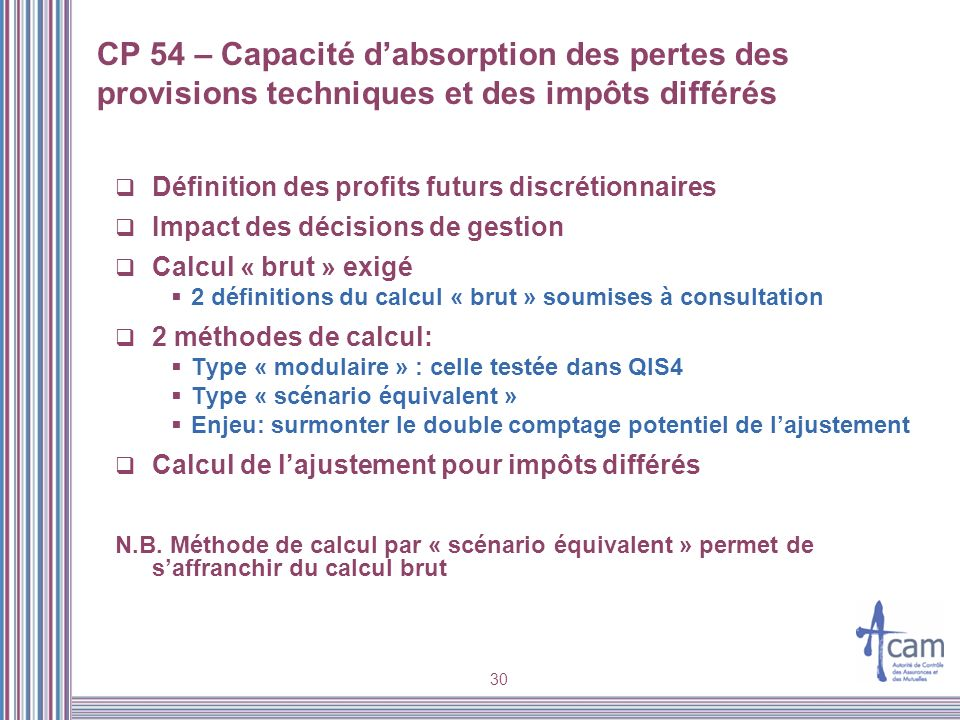 CP 54 – Capacité d'absorption des pertes des provisions techniques et des impôts différés