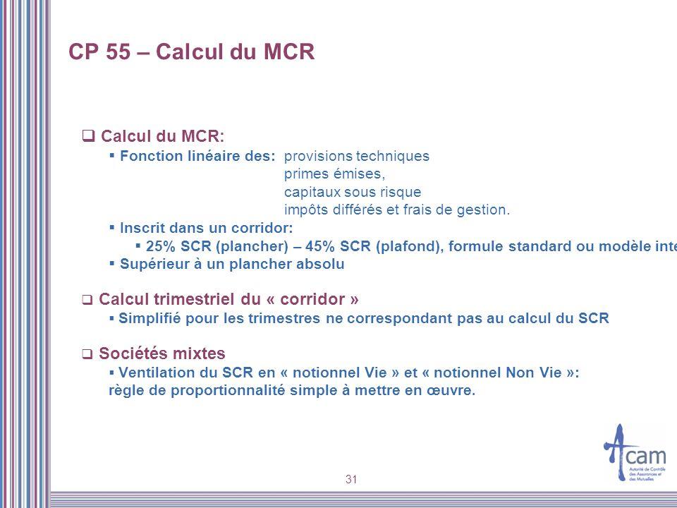 CP 55 – Calcul du MCR Calcul du MCR: