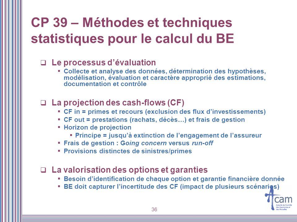 CP 39 – Méthodes et techniques statistiques pour le calcul du BE
