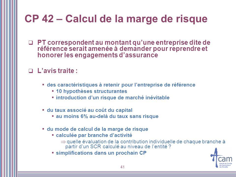 CP 42 – Calcul de la marge de risque