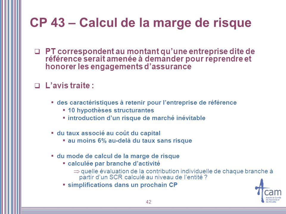 CP 43 – Calcul de la marge de risque