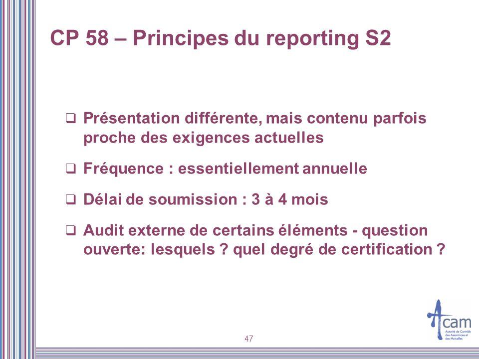 CP 58 – Principes du reporting S2