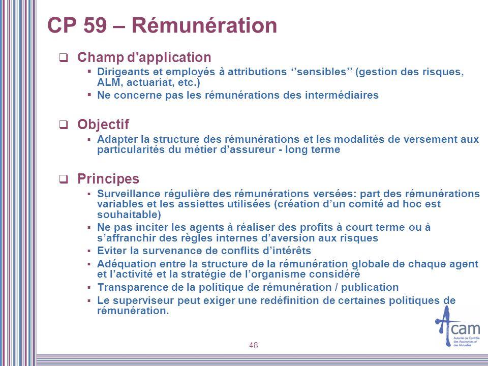 CP 59 – Rémunération Champ d application Objectif Principes