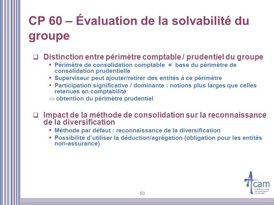 CP 60 – Évaluation de la solvabilité du groupe