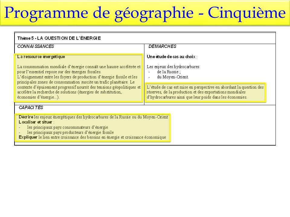 Programme de géographie - Cinquième