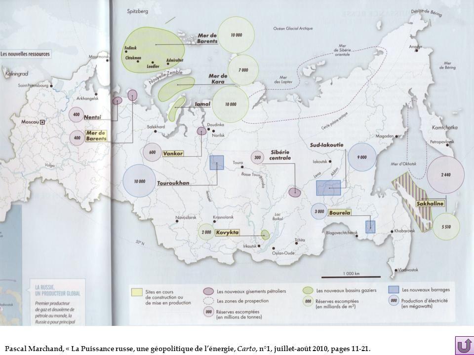 Pascal Marchand, « La Puissance russe, une géopolitique de l'énergie, Carto, n°1, juillet-août 2010, pages 11-21.