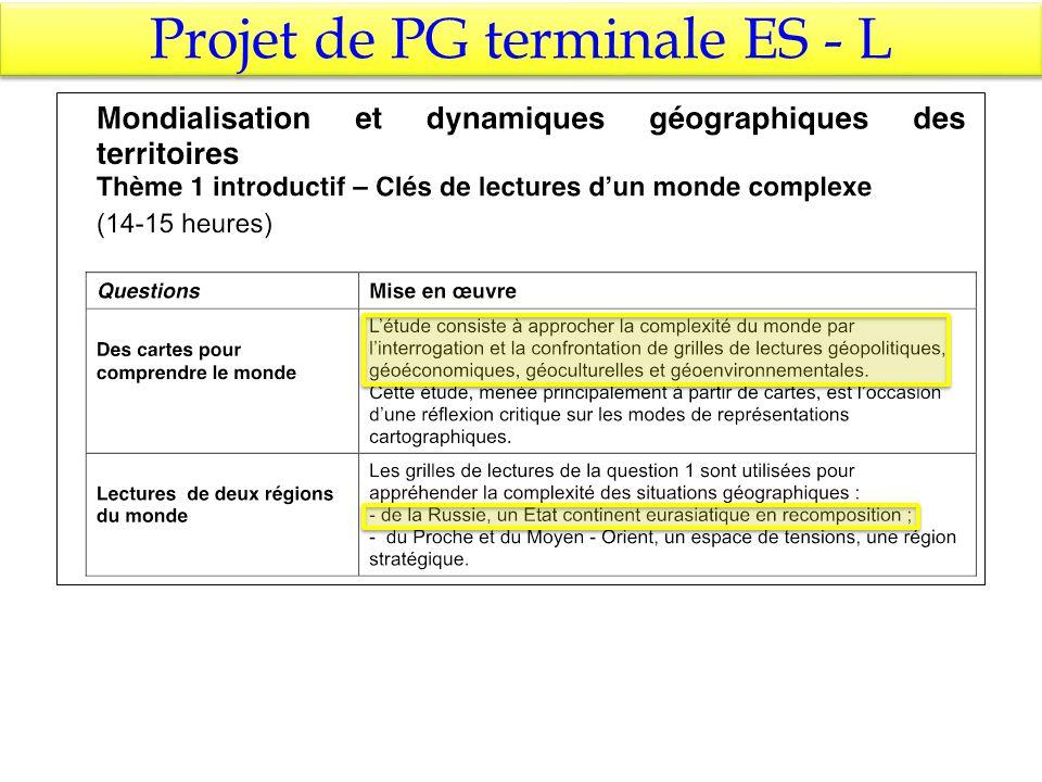 Projet de PG terminale ES - L
