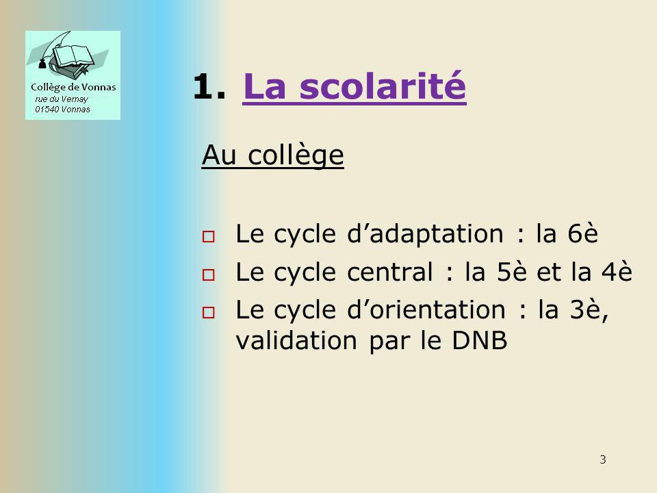 La scolarité Au collège Le cycle d'adaptation : la 6è
