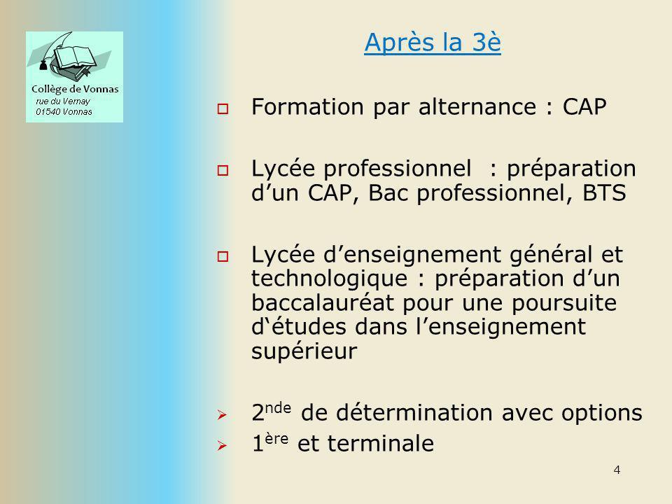 Après la 3è Formation par alternance : CAP