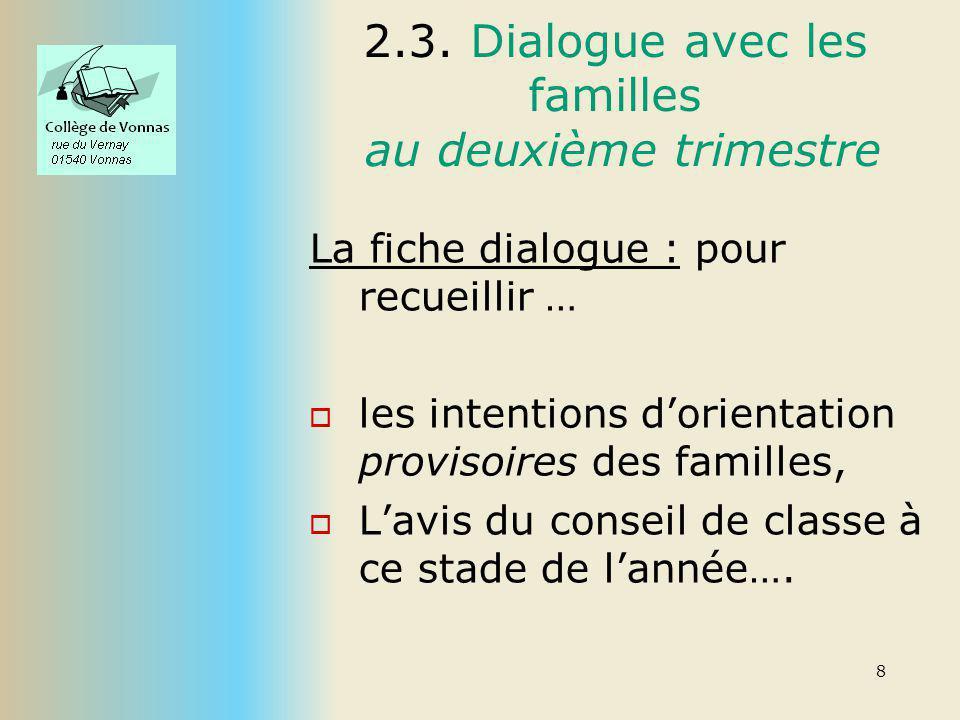 2.3. Dialogue avec les familles au deuxième trimestre