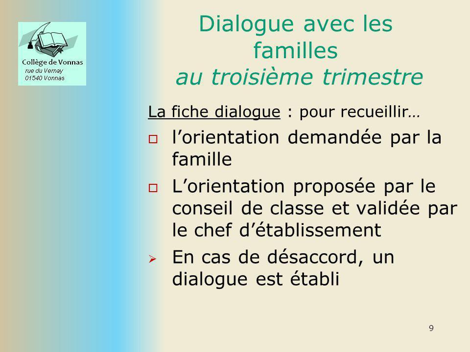 Dialogue avec les familles au troisième trimestre