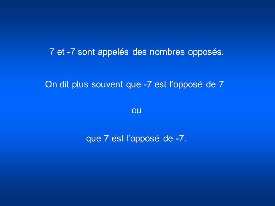 7 et -7 sont appelés des nombres opposés.