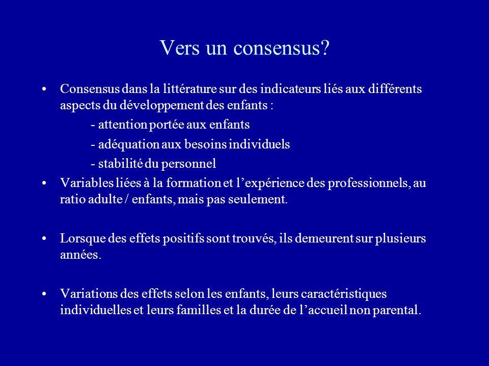Vers un consensus Consensus dans la littérature sur des indicateurs liés aux différents aspects du développement des enfants :