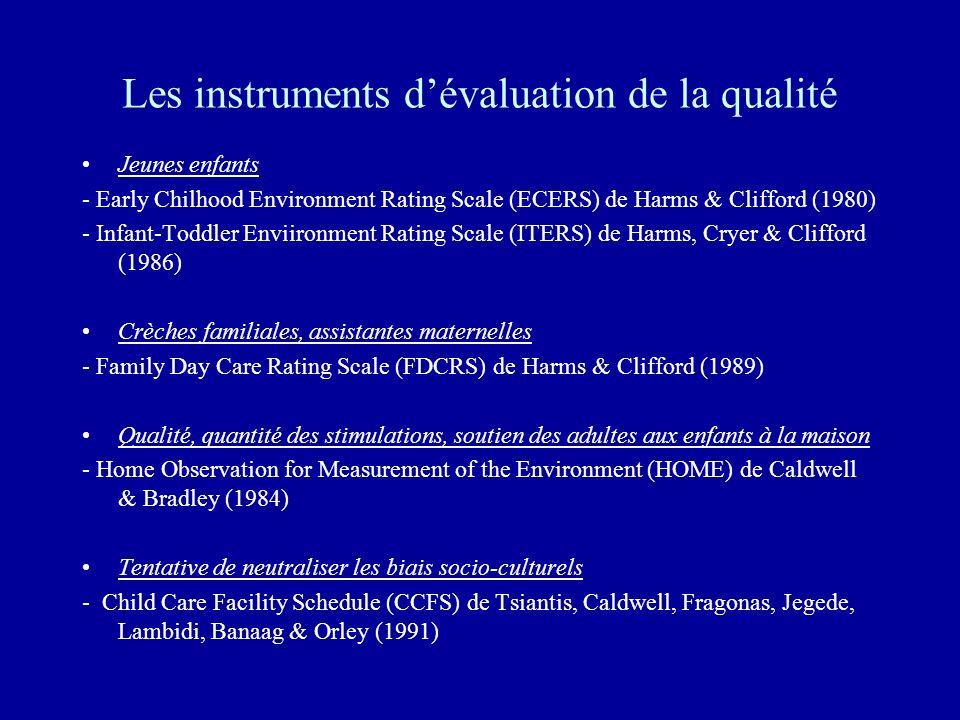 Les instruments d'évaluation de la qualité