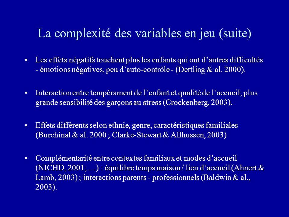 La complexité des variables en jeu (suite)
