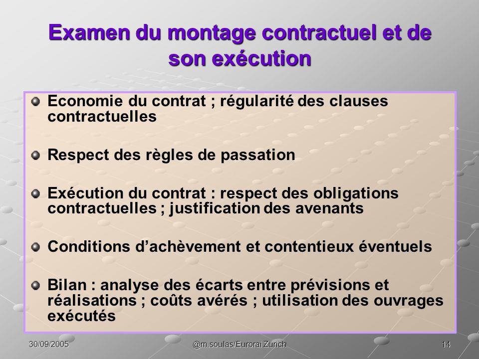 Examen du montage contractuel et de son exécution