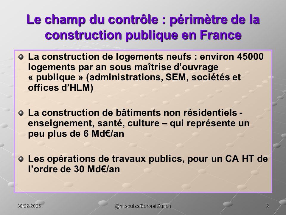Le champ du contrôle : périmètre de la construction publique en France