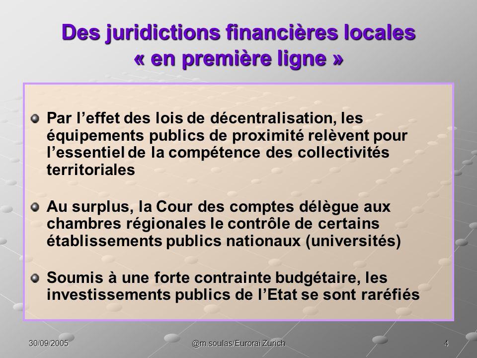 Des juridictions financières locales « en première ligne »