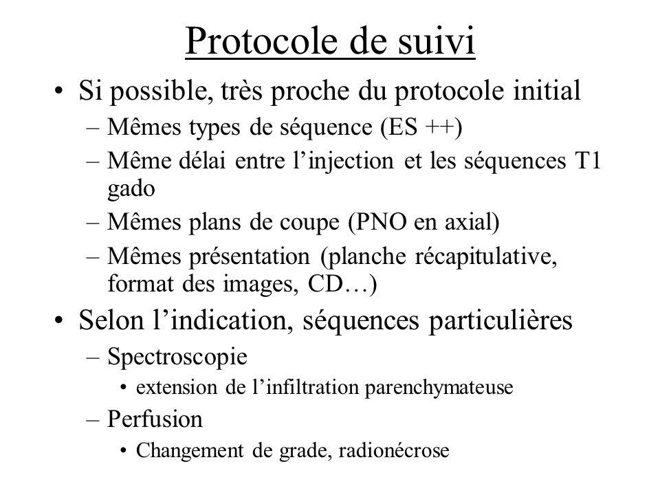 Protocole de suivi Si possible, très proche du protocole initial