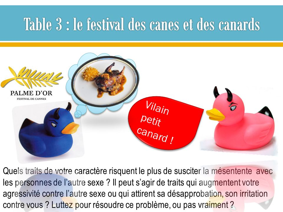 Table 3 : le festival des canes et des canards