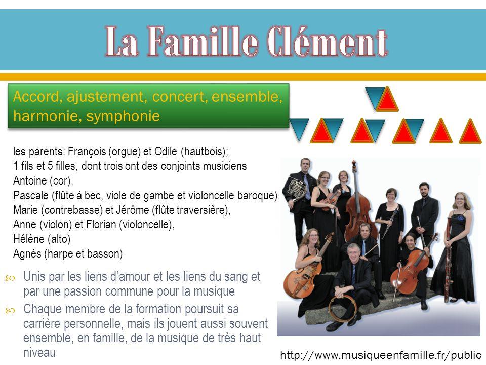 La Famille Clément Accord, ajustement, concert, ensemble, harmonie, symphonie. les parents: François (orgue) et Odile (hautbois);