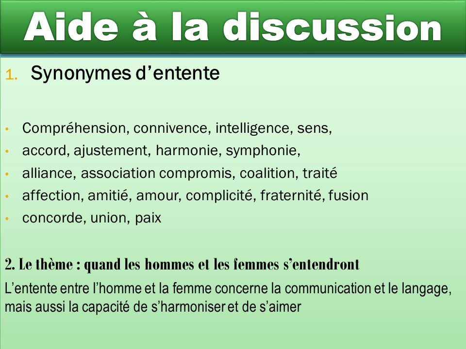 Aide à la discussion Synonymes d'entente