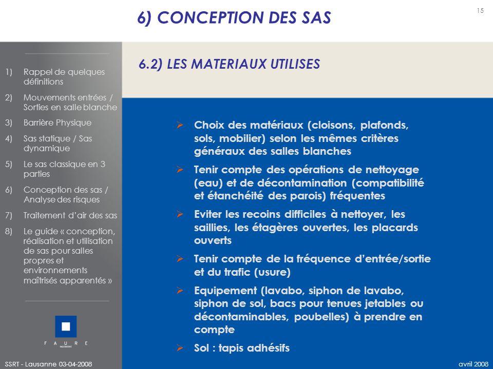 6) CONCEPTION DES SAS 6.2) LES MATERIAUX UTILISES