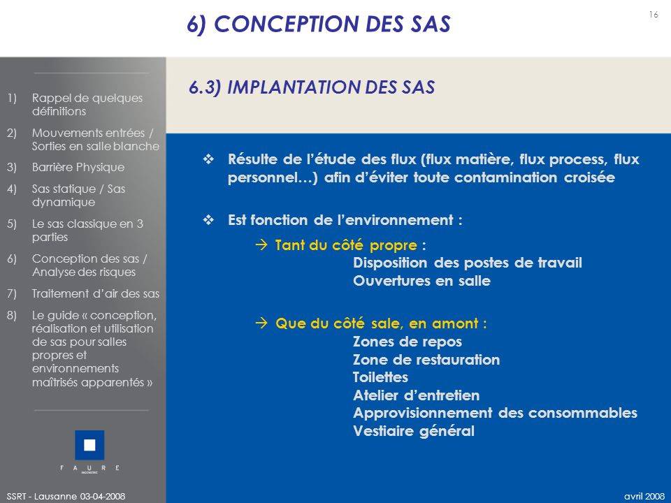 6) CONCEPTION DES SAS 6.3) IMPLANTATION DES SAS