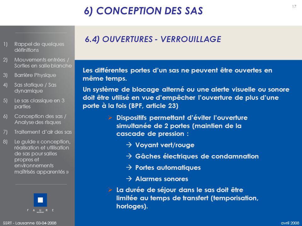 6) CONCEPTION DES SAS 6.4) OUVERTURES - VERROUILLAGE