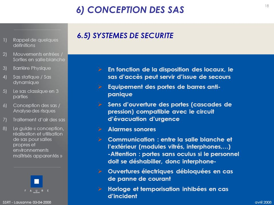 6) CONCEPTION DES SAS 6.5) SYSTEMES DE SECURITE
