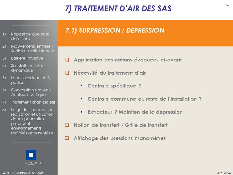 7) TRAITEMENT D'AIR DES SAS