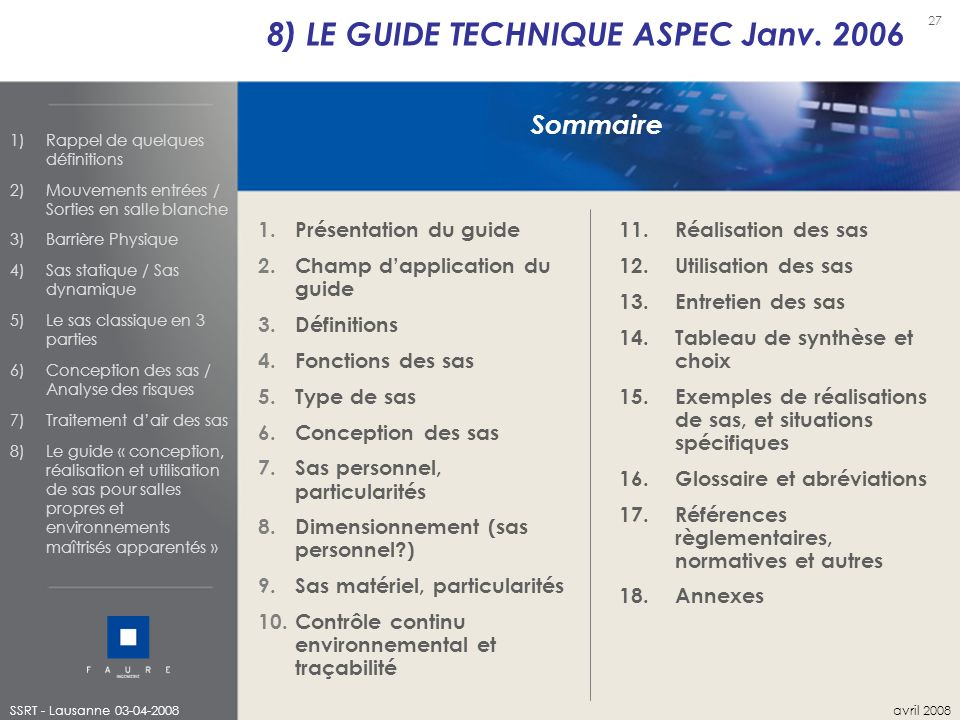 8) LE GUIDE TECHNIQUE ASPEC Janv. 2006