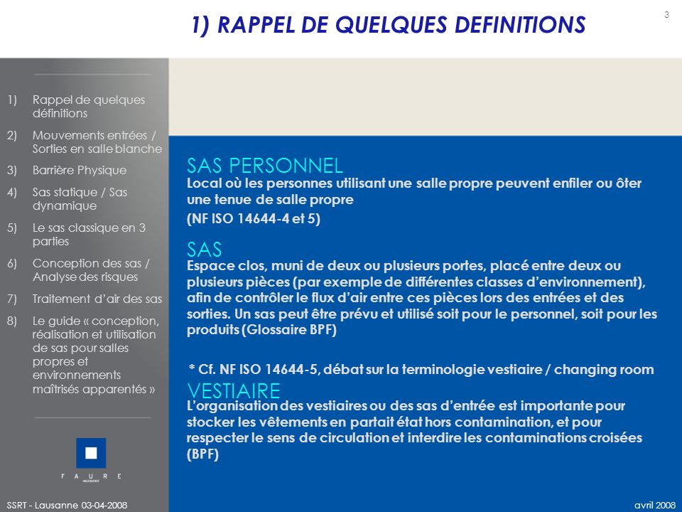 1) RAPPEL DE QUELQUES DEFINITIONS
