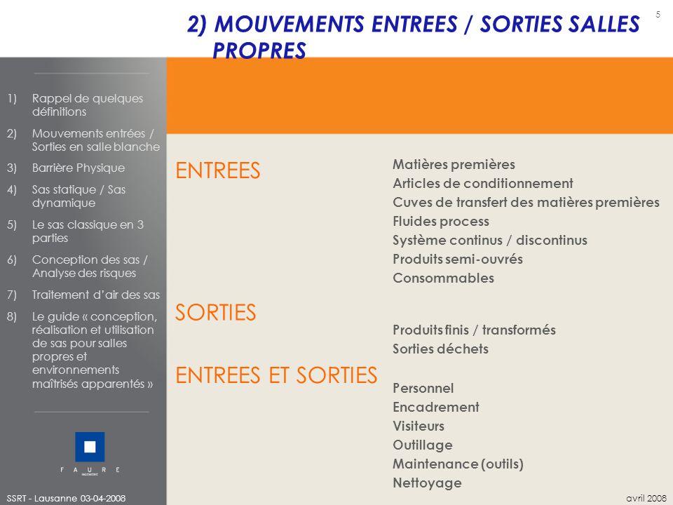 2) MOUVEMENTS ENTREES / SORTIES SALLES PROPRES